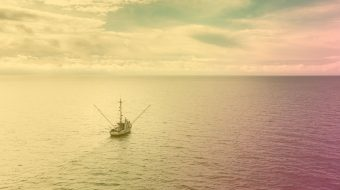 Boat sailing on a sea with horizon in sight