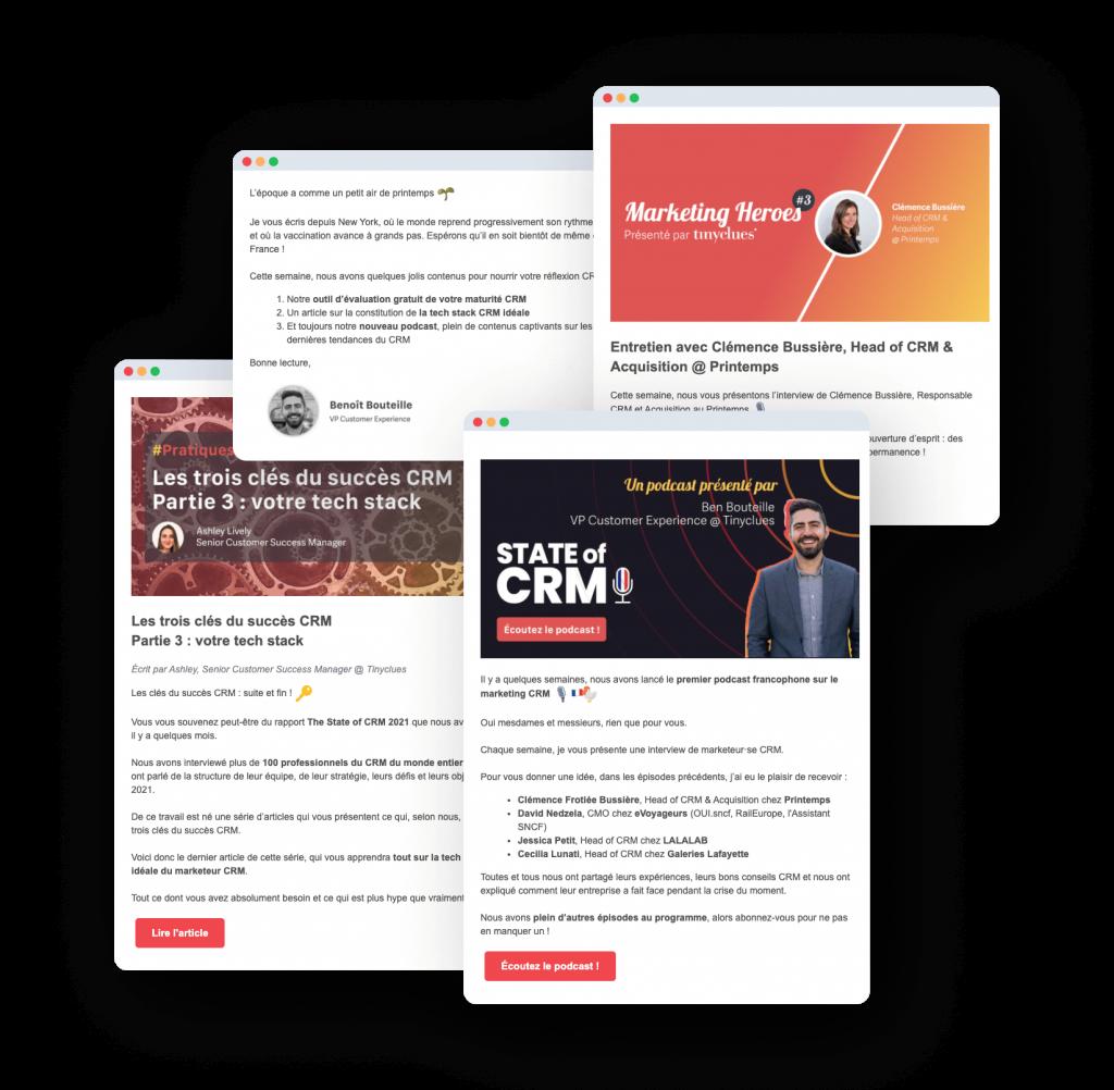 Montage de 4 fenêtres de newsletter Tinyclues